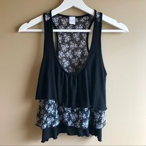 Kirra Black Floral Tiered Ruffle Crop Tank Size S